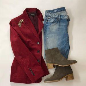 Talbots Burgundy Corduroy Velvet Blazer Jacket EUC